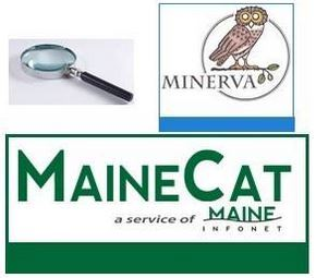 Magnifying glass, Minerva logo and MaineCat logo